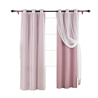 Deconovo Mix and Match Curtain Set 2-Piece Thermal Insulated Blackout Curtains and 2-Piece Tulle Lace White Sheer Curtains for Bedroom