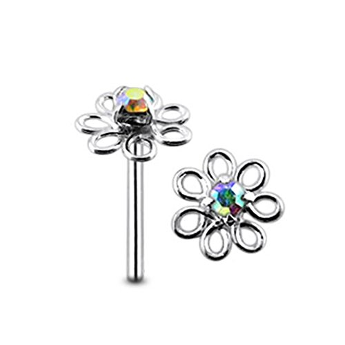 Rainbow Jeweled Filigree Flower Top 22 Gauge - 8MM Length Silver Straight End Nose Stud Nose Piercing