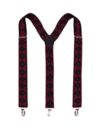 Panegy Wide Suspenders with Strong Clips for Mens Elastic Braces-Heavy Duty