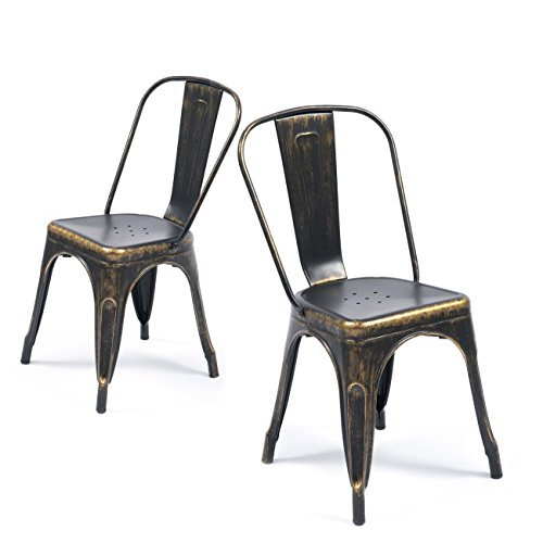 Belleze Set of (4) Metal Chairs Side Dining Steel High Back Counter (Antique Black) by Belleze