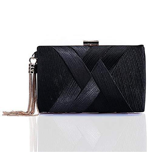 Vintage Per 11 shop Elegante E Nero Borsetta Da Cm Nuziale Seta Festa 18 La Con Sera Donna Frangia Nappe Retro × He Sposa 7 TC1ww