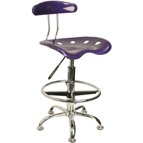 Flash Furniture Flash Furniture Vibrant Violet & Chrome Drafting Stool With  Tractor Seat LF-215-VIOLET-GG