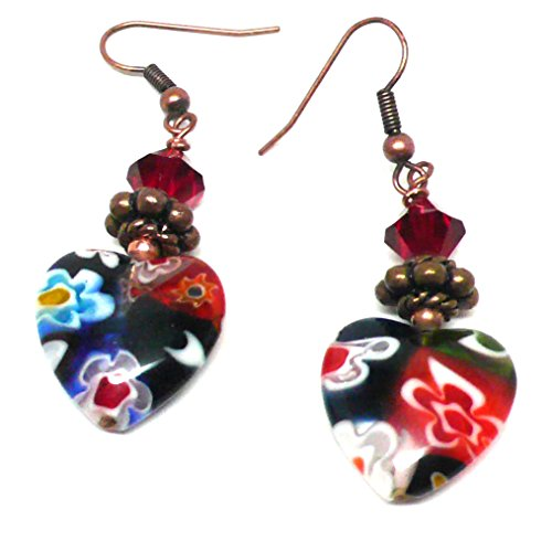 Millifiore 16mm Glass Heart OOAK Earrings Swarovski Crystal Copper Red