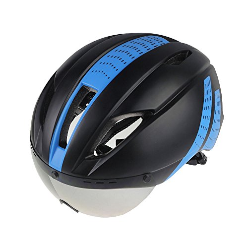 Mens Mountain Bike Cycling Helmet with Lens Visor Ultralight Integrally-Molded Bicycle Helmet (BLUE) Review