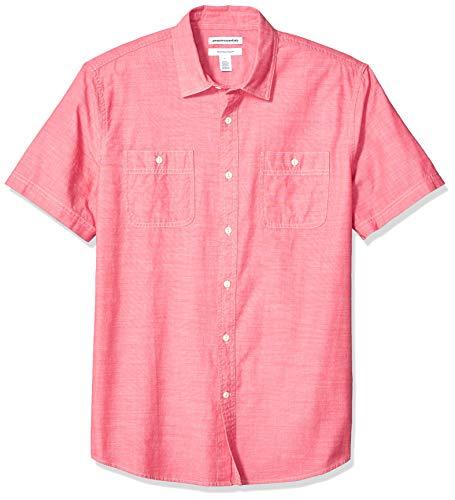 (Amazon Essentials Men's Standard Regular-Fit Short-Sleeve Chambray Shirt, Red, Medium)