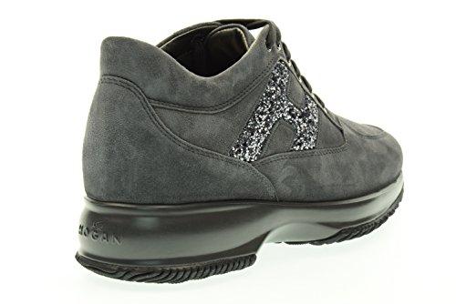 Hogan Donna Sneakers Donna Scarpe Scamosciate Sneakers Interattive Lavoraz Catrame