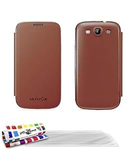 Muzzano F2501441 - Funda para Samsung I9300 + 3 protecciones de pantalla, color castano