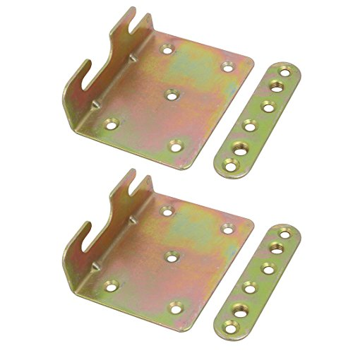 Bronze Fixed Rail - uxcell 91mmx71mmx30mm Screw Fixed Bed Hinge Rail Brackets Connecting Fittings 2 Sets