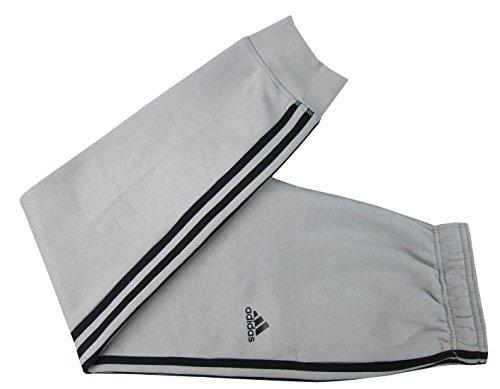 adidas Men's Essential Cotton Fleece Jogger Sweatpants (Light Grey/Black, Large)
