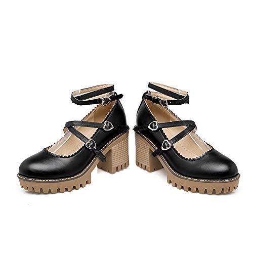 Womens Pumps Black BalaMasa Shoes APL10500 Buckle Mule Herringbone Urethane Odx7B