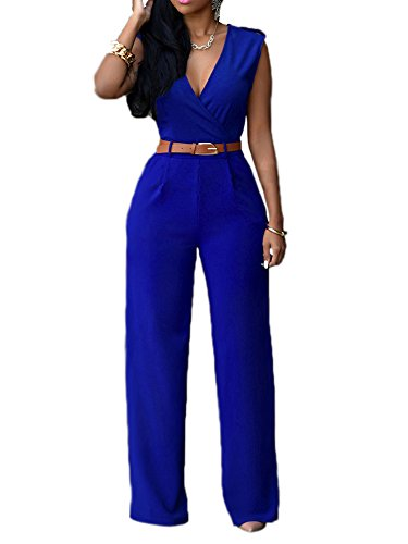 a0b299794572 CutieLove Women s Sexy Wrap Deep V Neck Sleeveless Wide Leg Jumpsuits  Rompers with Belt