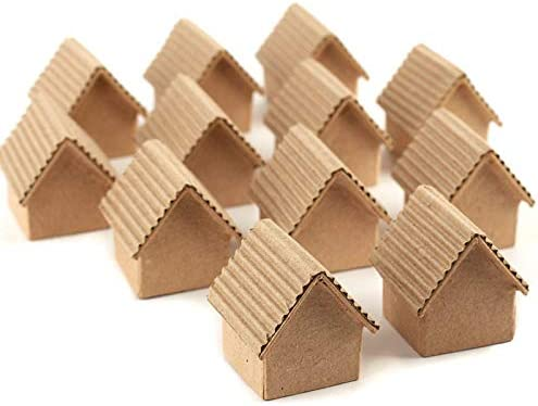 Factory Direct Craft Set of 12 Pieces Tiny Paper Mache Putz Houses with Corrugated Roofs