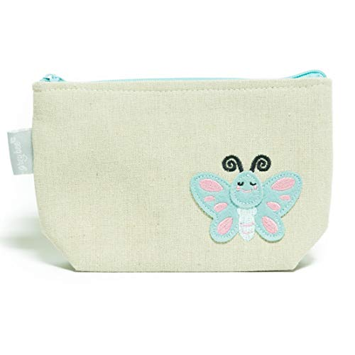 Canvas Pencil and Diaper Bag Accessories Pouch with Zipper, Animal Applique by Grey Bee- Blue Butterfly