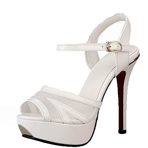 VogueZone009 Women Patent Leather Solid High-Heels Buckle Open-Toe Sandals White