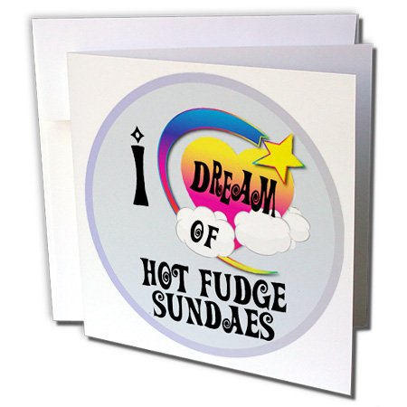 Fudge Heart (3dRose Cute Girly Heart Star Clouds I Dream Of Hot Fudge Sundaes - Greeting Cards, 6 x 6 inches, set of 12 (gc_166049_2))