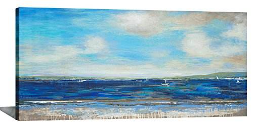 Yiijeah Large Abstract Wall Art for Living Room Canvas Print Blue Ocean Seascape Landscape Picture Home House Decor Modern Framed Artwork for Bedroom Decoration