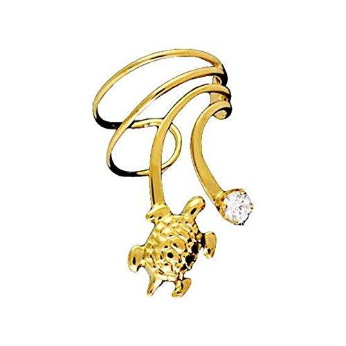 Gold Vermeil Pierceless Right Only Turtle Cubic Zirconia Wave Ear Cuff (Vermeil Turtles)