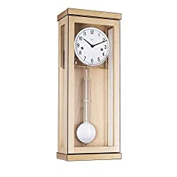 Qwirly Store: Carrington Mechanical Regulator Wall Clock by Hermle - Classic Chiming Solid Wood Clock with Metal Pendulum - Maple