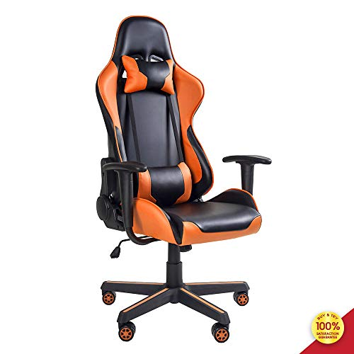 MIERES Video Gaming Chair Racing Office-PU Leather High Back Ergonomic 150 Degree Adjustable Swivel Executive Computer Desk Task Large Size,Headrest and Lumbar Support, Orange7