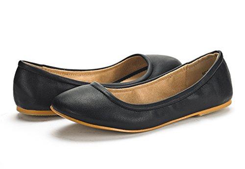 DREAM PAIRS Women's Sole-Fina Black Solid Plain Ballet Flats Shoes - 9 M US by DREAM PAIRS (Image #1)