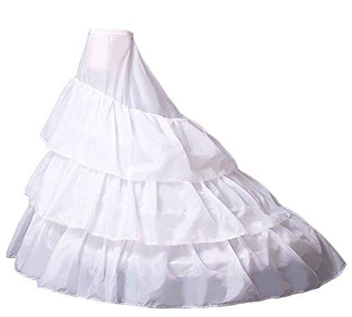 RohmBridal 3-Layer Ruffled Petticoats Train Wedding Dress Underskirt Crinoline Slips White
