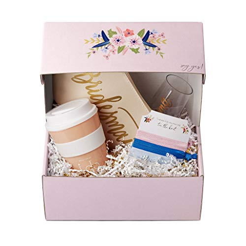 Bride, Bridesmaid, and Bride Tribe Proposal Gift Boxes - Pre-Assembled with Several Gifts Over Gold & White Crinkle Paper - Perfect for Wedding Showers & Bachelorette Parties! (Bridesmaid)]()