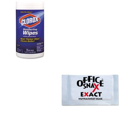 kitcox01761eaofx00060-value-kit-office-snax-nutrasweet-blue-sweetener-ofx00060-and-clorox-disinfecti