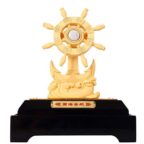 Yilian YISUPING Helmsman Steering Wheel Crafts Home Decoration Business Birthday Souvenir Artwork (Color : Gold, Size : 16x10x21.8cm)