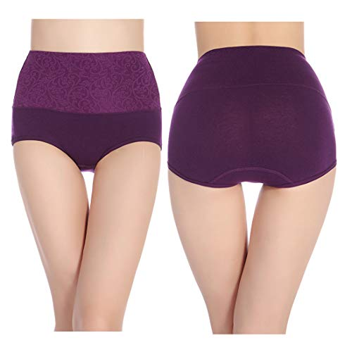a803f3184 Fulyou Women s Briefs Underwear Tummy Control Cotton Panties High Waist  Solid Color Ladies Soft Stretch Underpants