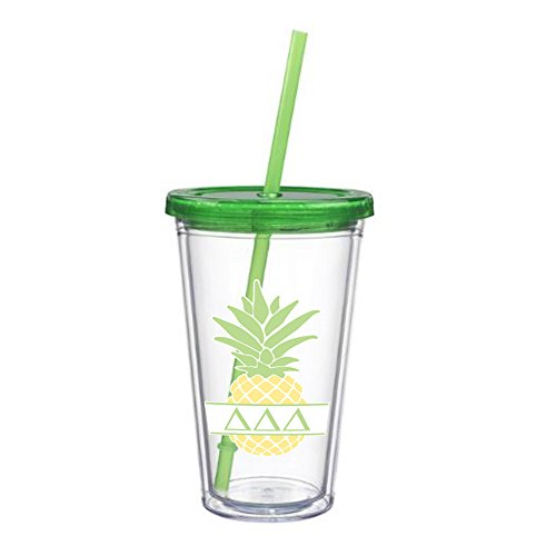 Delta Delta Delta Tri Delta Letter Pineapple Sticker on plastic Tumbler Greek Sorority Decal 16 oz. BPA - Return Policy Store Coach