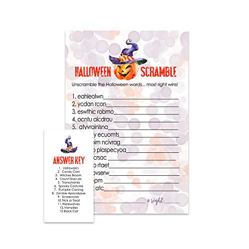 Pumpkin Halloween Word Scramble Party Game | Set of 25 | Orange and -