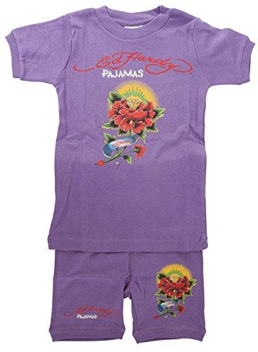 Ed Hardy Little Girls' Tattoo Graphic Short Sleeve Pajama Set - Purple - (Ed Hardy Baby Girl)