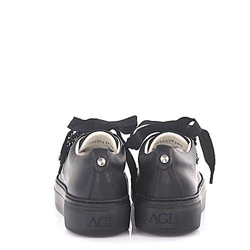 Agl Attilio Giusti Leombruni Sneaker D92504 Plateau In Pelle Nera Con Finiture In Raso Di Cristallo