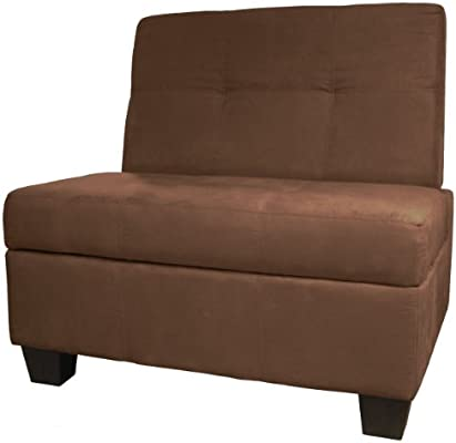 Butler Microfiber Upholstered Tufted Padded Hinged Storage Ottoman Bench 36 Inch Size Microfiber Suede Chocolate Brown