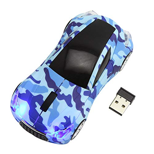 CHUYI 2.4GHz Wireless Sport Car Shape Mouse 3D DPI 1600 Optical Cool Gaming Mice with USB Receiver for PC Laptop Notebook Gift (Camouflage Blue)