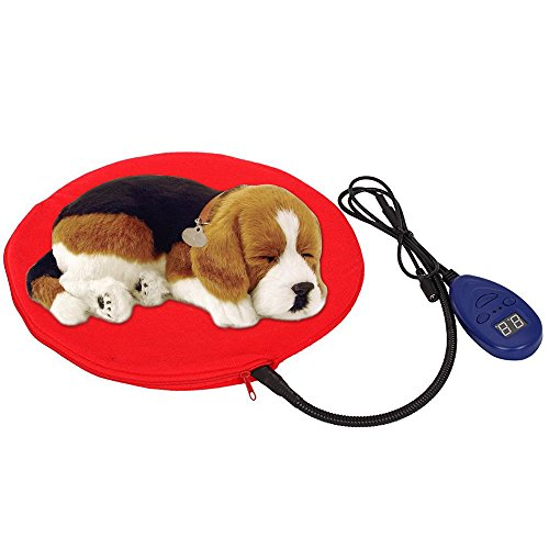 Heating Pads for Pets, Electric Heating Pad for Dogs &Cats Warming Dog Beds Pet Mat Pressure Activated with Chew Resistant Cord Soft Removable Cover (Red)
