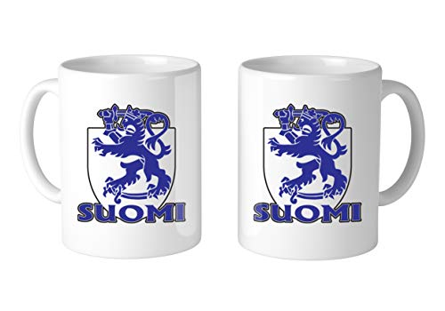 Amdesco Suomi Finland Lion Crest 11 Oz White Coffee Mug (2 ()