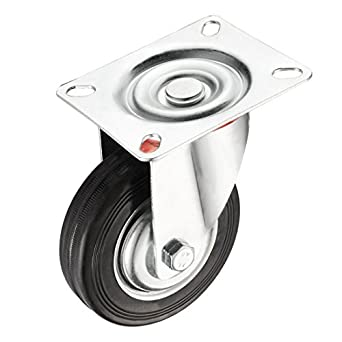 eDealMax 4 pulgadas de goma giratoria de la rueda, de 360 grados Plate
