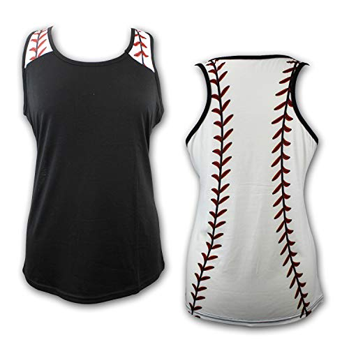 Baseball Tank Top for Mom Fans Sports Games Gifts Teen Women (Grey) (Black, X-Large) ()