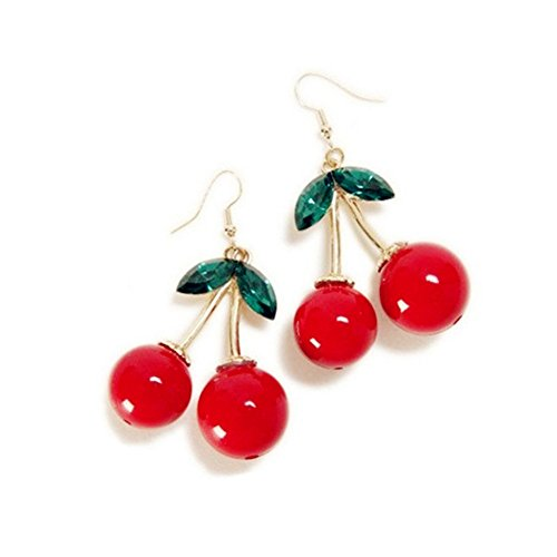 18K Gold Plated Vintage Red Big Cherry Charm  Green Crystal Leaf Women Hook Dangle Drop Earrings