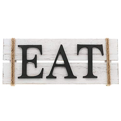 """Eat Wood Wall Art Sign Rustic Primitive Farmhouse Country Kitchen and Home Wall Decor 17"""" x 7"""""""