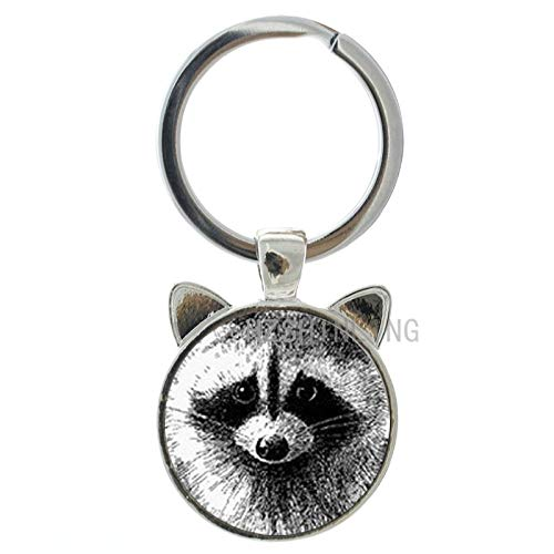 Key Chains - Vintage Charm Pencil Art Raccoon Keychain Retro Wild Animal Raccoon Glass Dome Ear Key Chain Ring Men Women Jewelry CN140 - by Mct12-1 PCs ()