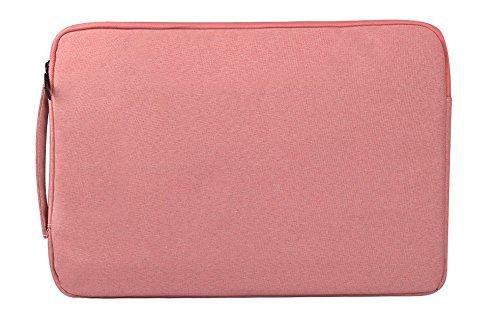 Bolso maletín de manga portátil para MacBook Retina, MacBook Air, computadora portátil Poliéster a prueba de golpes, funda protectora resistente a derrames Bolsa de transporte con bolsillos para acces rosado