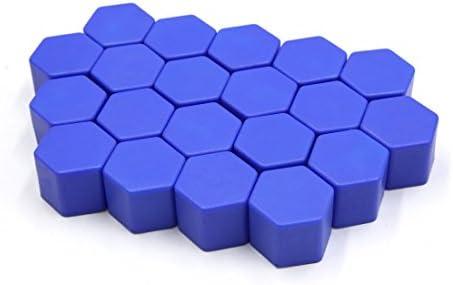 uxcell タイヤスクリューキャップ 21 x 20mm ブルー 自動車 ホイールタイヤ ハブ ネジ ボルトナット キャップ カバー 20個入り