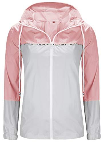 - ZEGOLO Women's Raincoats Waterproof Packable Colorblock Windbreaker Lightweight Active Outdoor Hooded Rain Jacket S-XXL