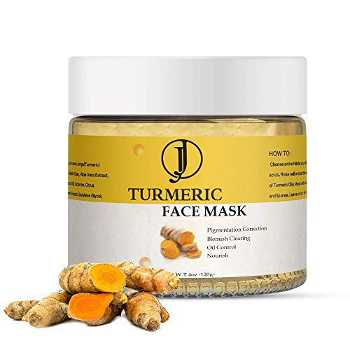 JJ Beauty Creations - ORGANIC VITAMIN C TURMERIC CLAY FACE MASK For Acne, Control Oil, Purify Pores, Remove Toxins, Pigmentation Correcting, Improve Texture, Nourish Skin - 4 Oz