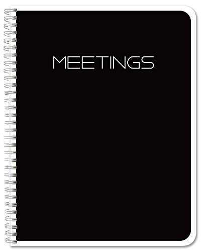 BookFactory Meeting Notebook/Business Meeting Book - Black, 120 Pages (Ruled Format), 8.5