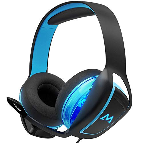 Mpow EG1 Gaming Headset, 7.1 Surround Sound, Dual 60mm Powerful Driver Gaming Headphones with Noise Cancelling Microphones, Over-Ear Soft EarPad, LED Light, Stereo Bass USB Headset for PC/PS4/Xbox One by Mpow