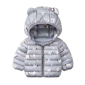 Xifamniy Infant Unisex Babies Cotton-Padded Jacket Cartoon Animals Shape Hooded Coat Gray
