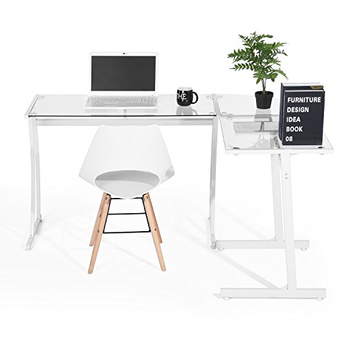 GreenForest Office Desk L Shape Corner Computer PC Table Workstation 3-Piece for Home,Switch 2 Sides,White with Clear Glass by GreenForest